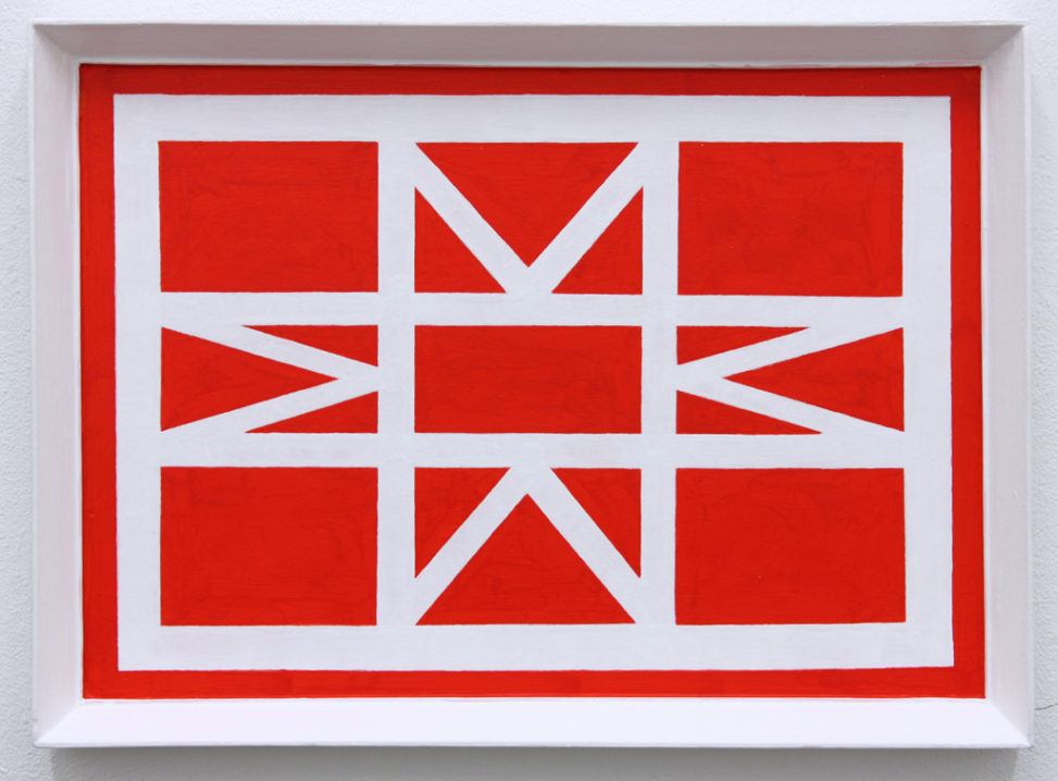 David Webb Parcheesi (Frame Red) 2016 Acrylic and on panel and found frame 28x38cm