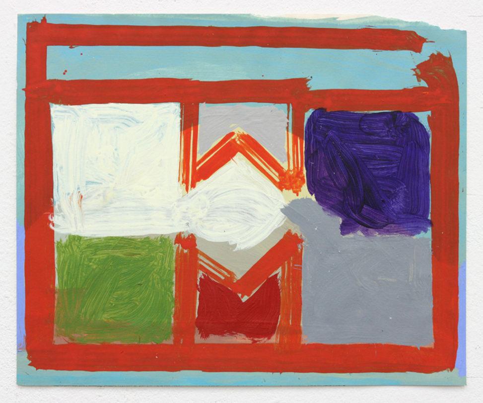 David Webb Parcheesi (Red Bars) 2016 Acrylic on paper 23x28cm