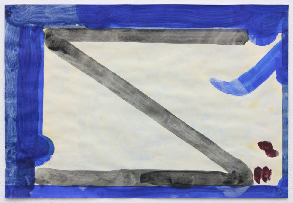 David Webb Tourist Smoking Room (With Aubergines) 2014 Acrylic on paper 28x41cm