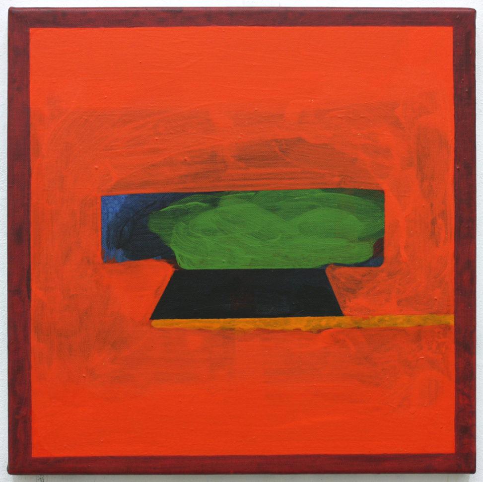 David Webb Volcano (Red For Elizabeth Bishop) 2015 Acrylic on canvas 40x40cm