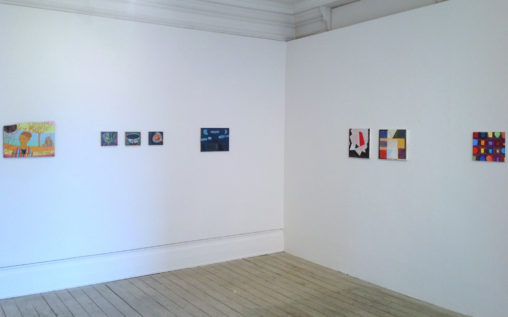 'Panel Paintings', Eagle Gallery, London (2013). 2nd and 3rd from right, Parcheesi (Purple) (2013) and Valletta II (2013)