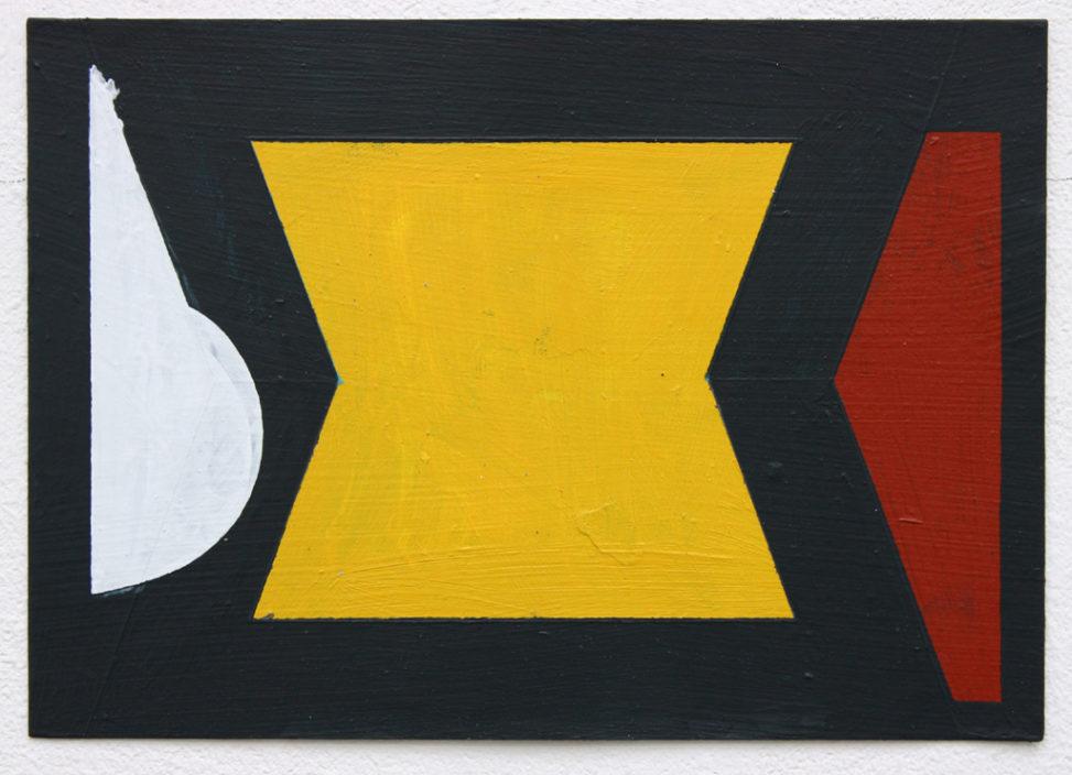 Meeting Two People (Yellow), 2016, acrylic on card, 21x15cm