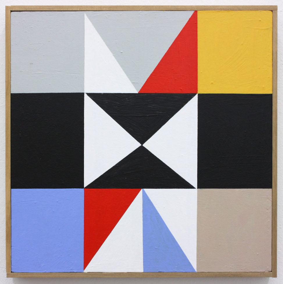 David Webb Parcheesi (Yellow) 2017 Acrylic on panel and artists frame 31.5 x 32 cm