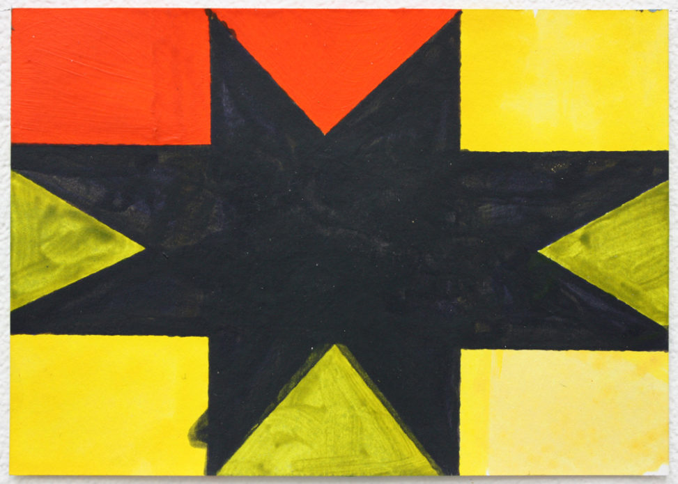 David Webb Untitled (Black Star Flag) 2016 Acrylic on card 10.5 x 14.5 cm