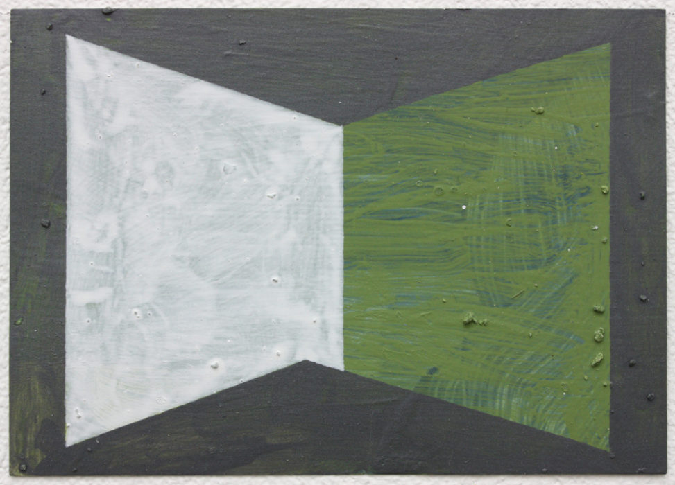 David Webb Untitled (Kseros, Green) 2018 Acrylic, micaceous iron oxide and pumice on card 10.5 x 15 cm