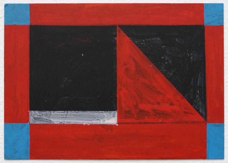 Untitled (Red Drift), 2016. Acrylic on card, 15 x 21 cm