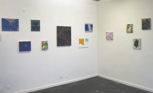 'Without an Edge There Is No Middle', Pluspace, Coventry (2013). 3rd from right: Windmill (2008). 5th from right: Smoking Room (Blue) (2011)