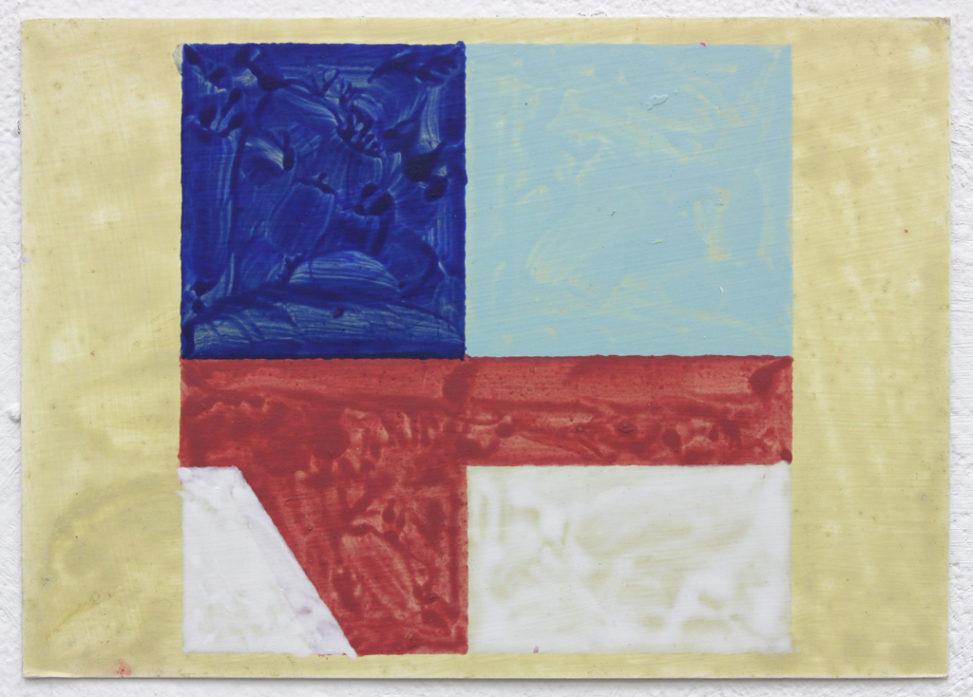 Agiou Stefanou (Blue), 2016, acrylic on card, 10.5x15cm