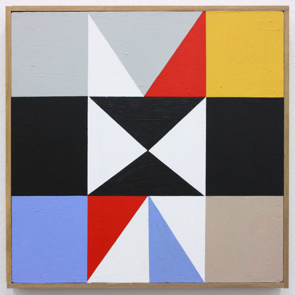 David Webb Parcheesi (Yellow) 2017 Acrylic on panel and artists frame 31.5 x 32 cm